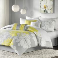 BEAUTIFUL 7 PC MODERN ELEGANT WHITE GREY YELLOW FLORAL ...