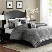 BEAUTIFUL ELEGANT MODERN BLACK WHITE GREY COMFORTER SET ...