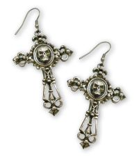 Gothic Skull on Filigree Cross Silver Pewter Earrings