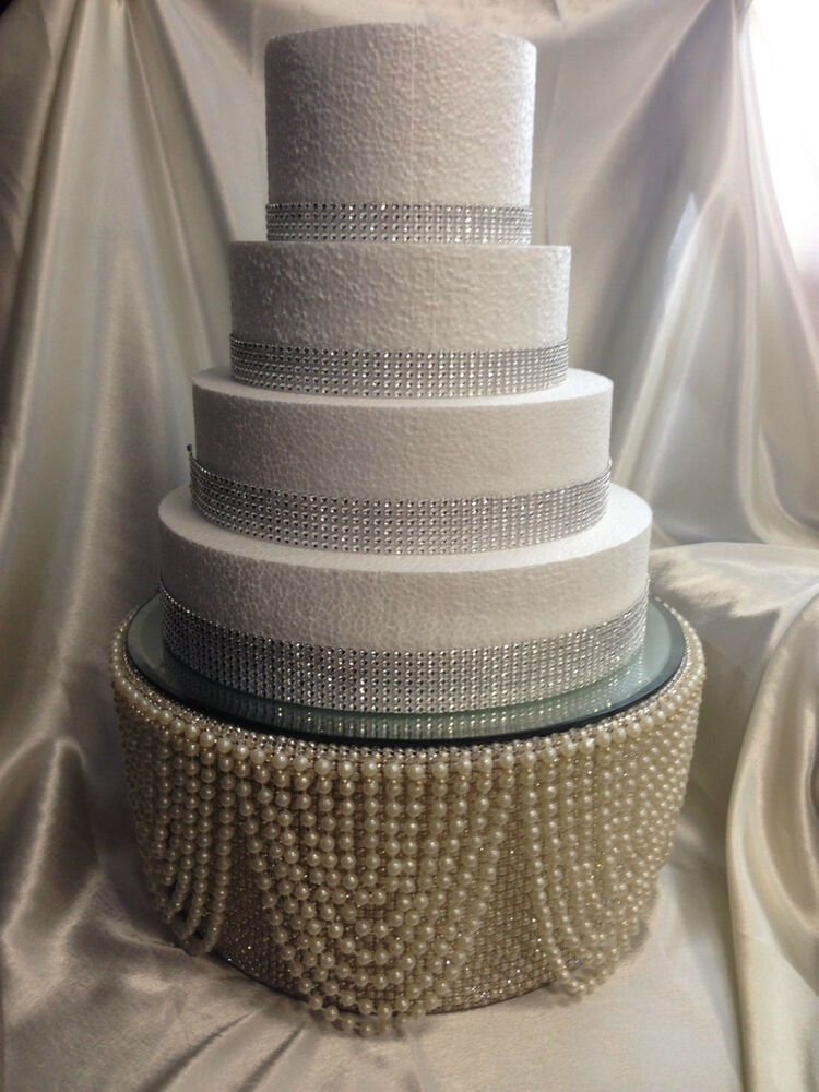 Pearl  diamante rhinestone finish Tall cake stand for