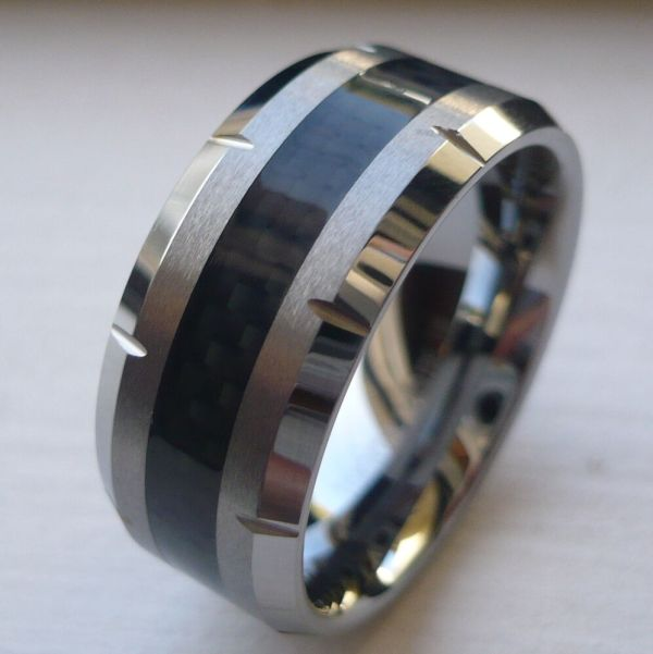 10mm Men' Tungsten Carbide Wedding Band Ring With Black Carbon Fiber Size 8-15