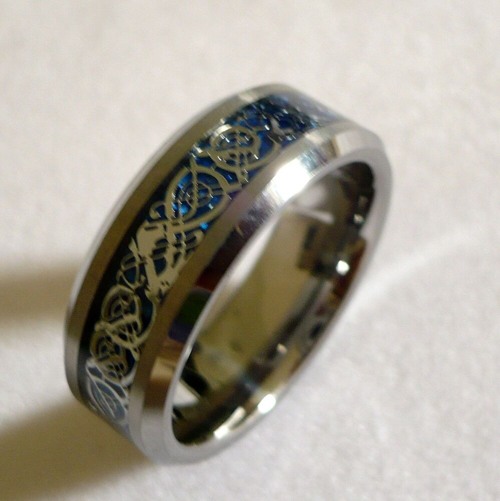 8MM MENS TUNGSTEN CARBIDE Celtic Dragon Pattern WEDDING