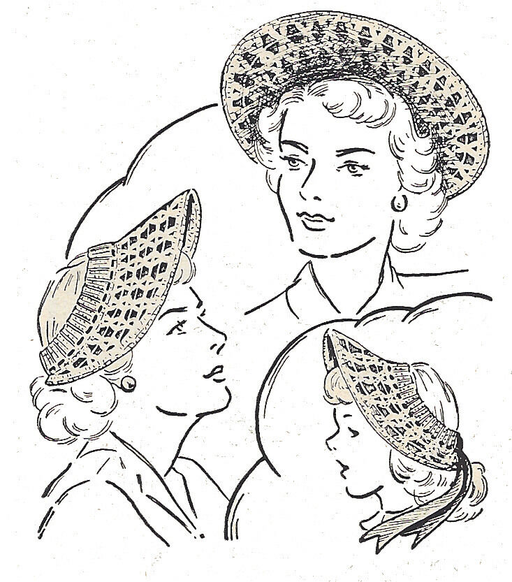 Vintage Crochet PATTERN to make Lace Crocheted Wide Brim