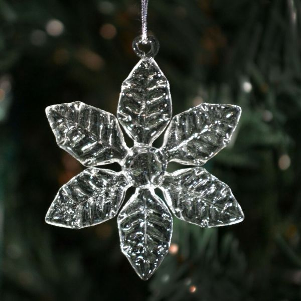Clear Glass Snowflakes- 6 Styles- Christmas Ornaments Decorations