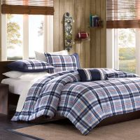 BEAUTIFUL BLUE WHITE GREY RED PLAID BOYS CABIN COMFORTER ...