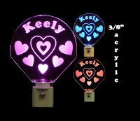 Girls Personalized Handmade LED Night Light with Hearts ...