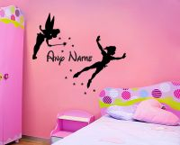 TINKERBELL PETER PAN & NAME WALL STICKER CHILDRENS BEDROOM ...