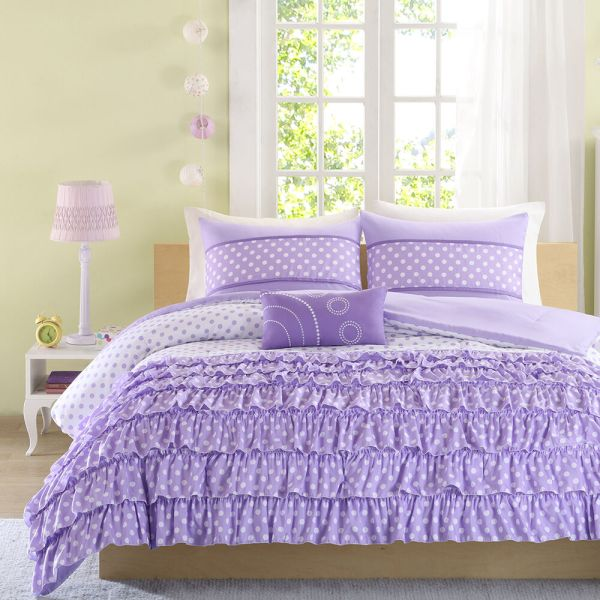 Beautiful Modern Cozy Ruffled Polka Dot White Purple Girls