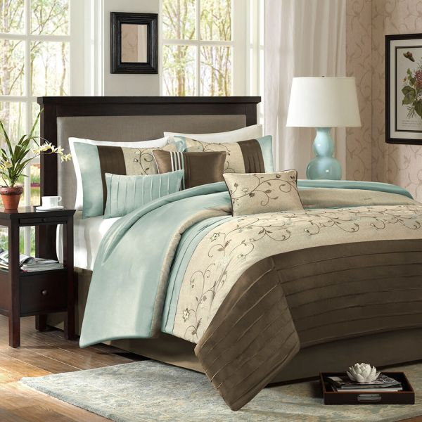ivory and beige bedroom BEAUTIFUL MODERN SOFT BLUE BROWN TAUPE BEIGE IVORY COMFORTER SET & PILLOWS NEW   eBay