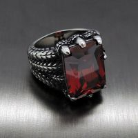 Mens Silver Dragon Ruby Red Cubic Zirconia 316L Stainless ...