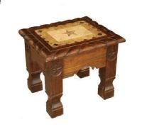 Rustic Dark Marble Rope End Table with Stars Western Cabin ...