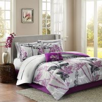 BEAUTIFUL 9PC MODERN PURPLE BLACK GREY WHITE FLORAL LEAF ...