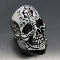 Mens Huge Silver Skull Face Stainless Steel Biker Ring