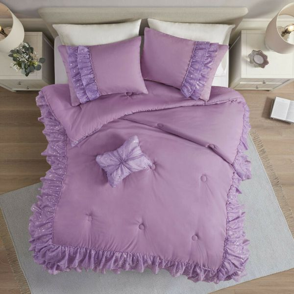 Beautiful Modern Purple Lavender Polka Dot Ruffled Girls