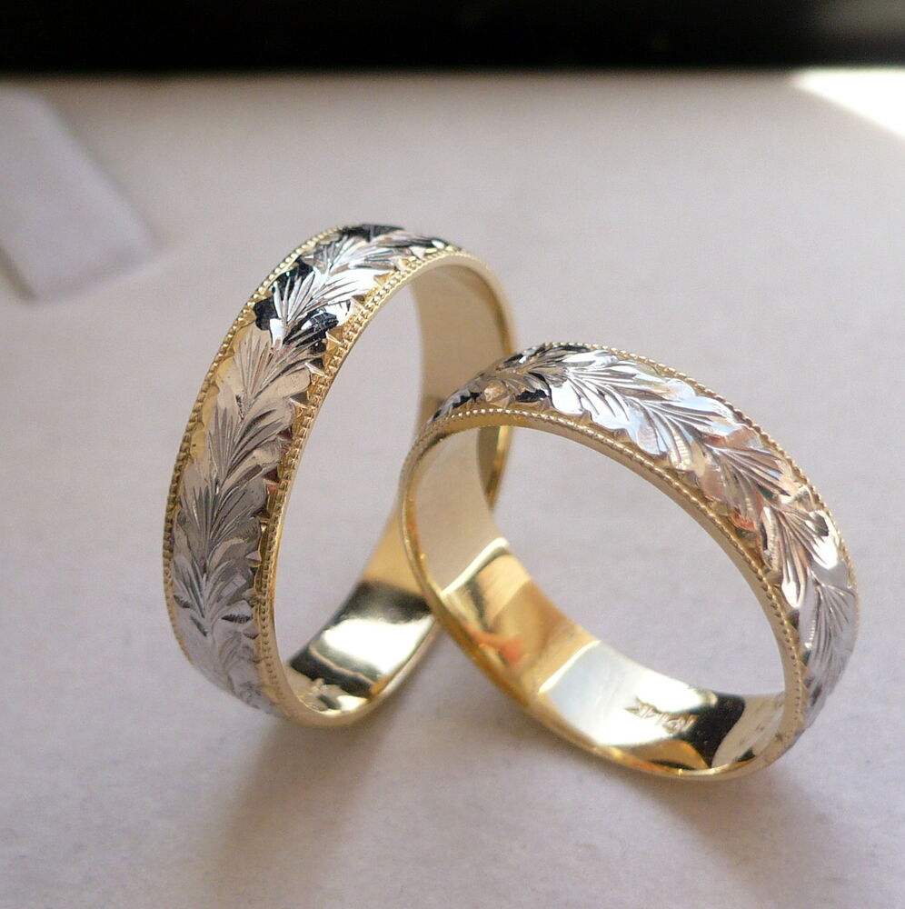 14K SOLID GOLD HIS Amp HER Two Tone WEDDING BAND RING SET 5