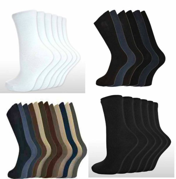 Mens Socks 100 Cotton Black Nervy White 12 Pairs Looses