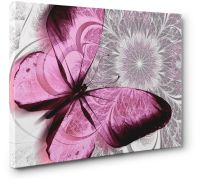 Abstract Canvas Print Floral Butterfly Pink Grey Unique ...