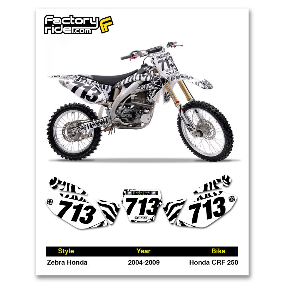 2004-2009 HONDA CRF 250 Zebra Dirt Bike Graphics Motocross
