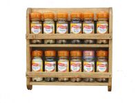 wooden spice rack, wall mounted, pine shelf, kitchen ...