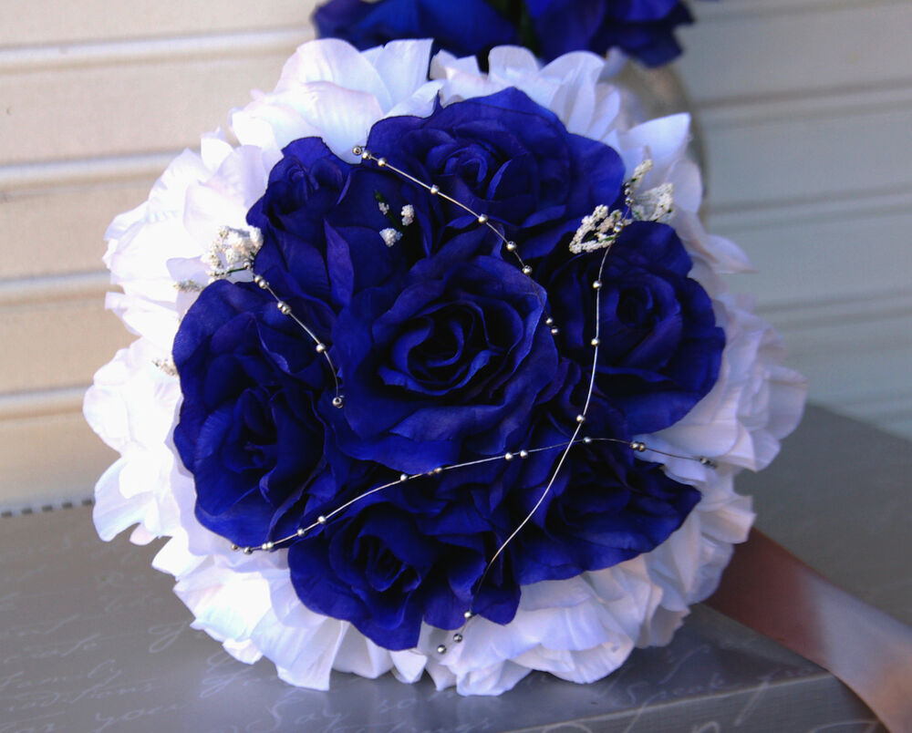 4 Bouquets-Royal Blue,White-silver Gray-wedding Silk