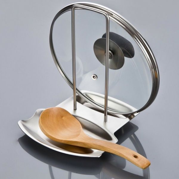 Home Kitchen Stainless Steel Pan Pot Rack Cover Lid Stand Spoon Holder