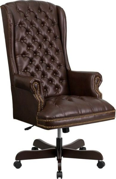 traditional leather office chair High Back Traditional Tufted Brown Leather Executive Office Chair | eBay
