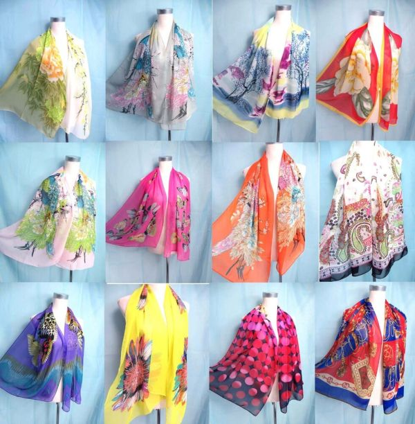 Seller Lot Of 10 Chiffon Scarf Wrap Shawl Women Bulk