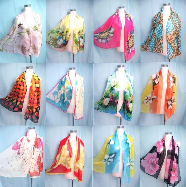 Seller Lot Of 10 Fashion Scarves Chiffon