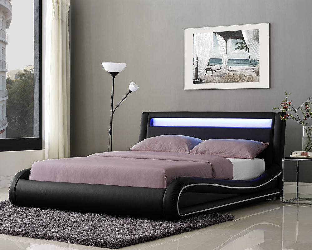 Double LED Bed Faux Leather King Size Frame And With