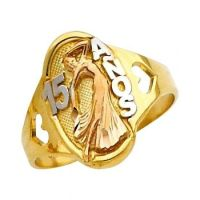 "14K Solid Tri-color Gold ""Quince Anos"" Sweet 15 with ..."