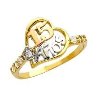 "14K Solid Tri-color Gold ""15 Anos"" Sweet Fifteen Fancy CZ ..."