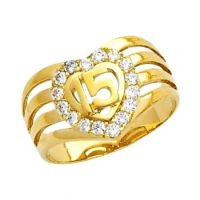"14K Solid Yellow Gold Quince Anos ""15"" Sweet Fifteen Heart ..."