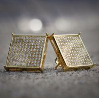 Mens 14K Gold Large Square Flat Screen Hip Hop Screwback ...