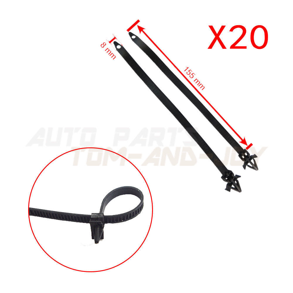 20Pcs Ties Releasable Nylon Cable Strap Push Mount Wire