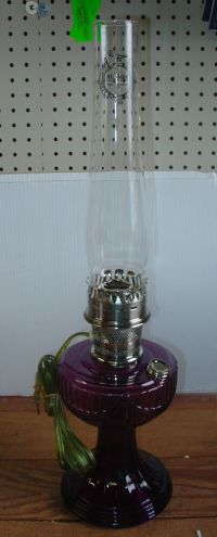 Antique Look Amethyst Purple Glass Electric Table Lamp by ...