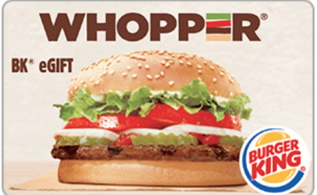 Burger King Gift Card 25 50 Or 100 Fast Email Delivery Ebay