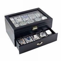 Black Watch Case Display Jewelry Box Glass Top Organizer ...