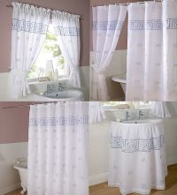 Greek Key embroidered voile bathroom shower or window