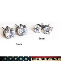 Stainless Steel Round CZ Stud Earrings 6-8mm Cubic ...