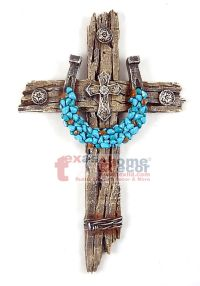 Turquoise Horseshoe Concho Decorative Wall Cross Faux Wood