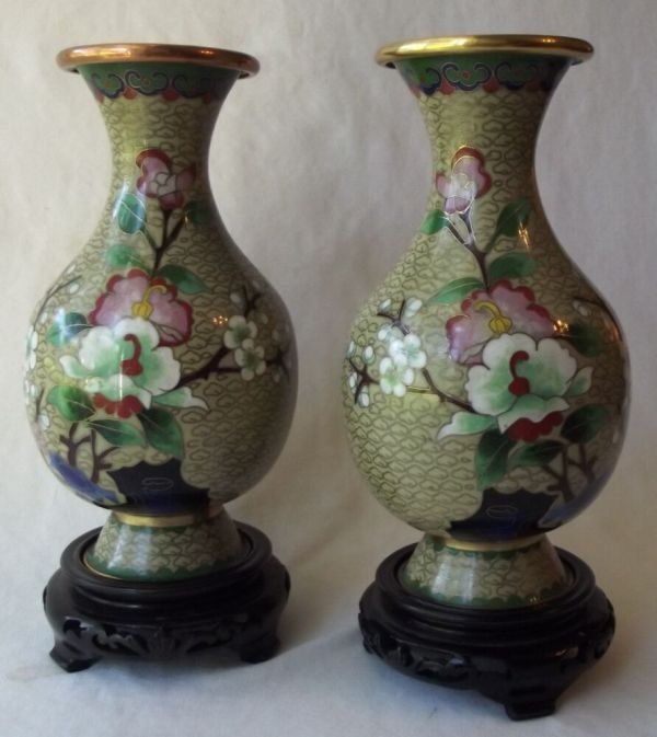 Impressive Pair Of Antique Chinese Cloisonne Vases With