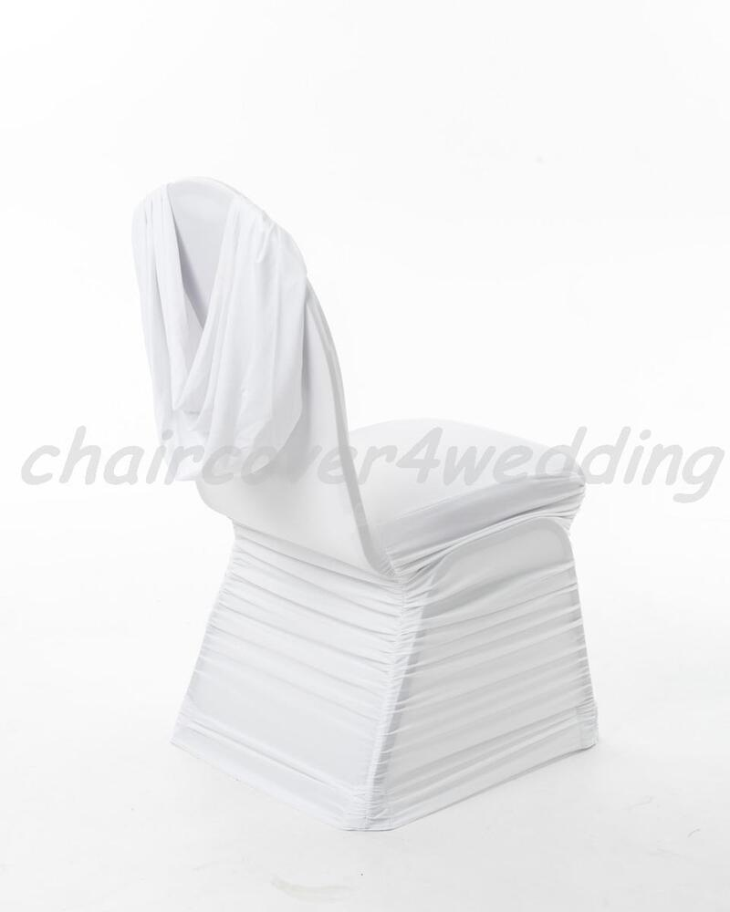 chair covers wedding ebay used kitchen chairs for sale 100 spandex ruched swag back cover white |