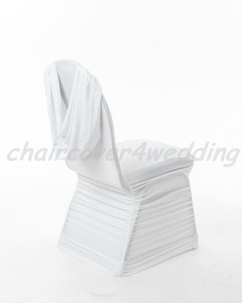 chair covers wish kids room 100 spandex ruched swag back cover white | ebay