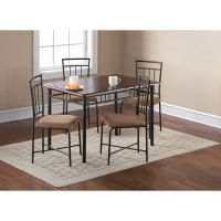 5 Piece Dining Set Breakfast Furniture Wood Metal 4 Chairs
