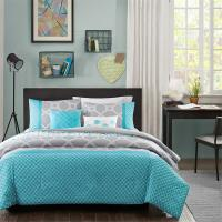 MODERN BLUE GREY TEAL AQUA CHEVRON STRIPE BOYS COMFORTER ...
