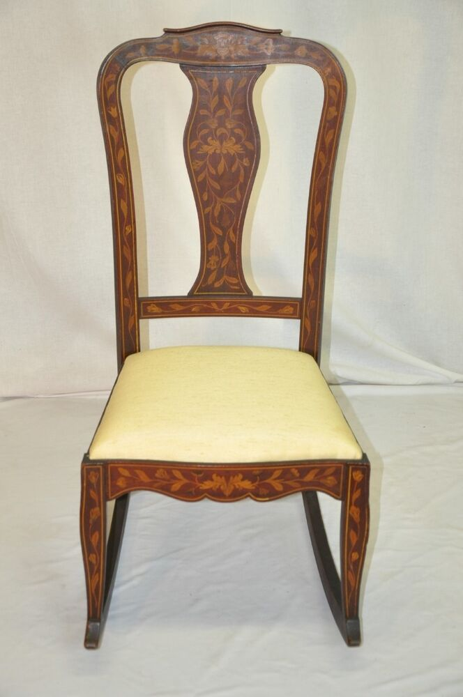 where to buy a rocking chair barber chairs under 100 beautiful dutch inlaid marquetry mahogany chair, original finish | ebay