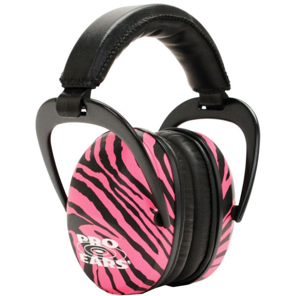 Pro Ears Ultra Sleek Pink Zebra Ear Muffs Womens Shooting