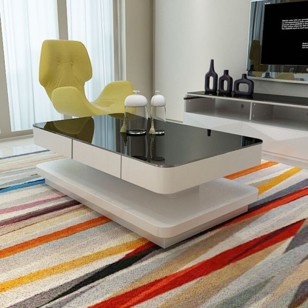 Design High Gloss White Coffee Table With Black Tempered