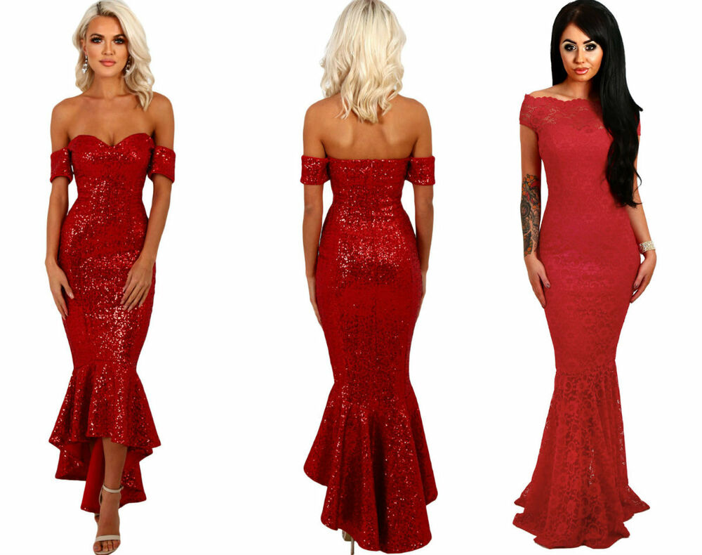 BOUTIQUE RED SEQUIN LACE BARDOT FISHTAIL MERMAID PARTY