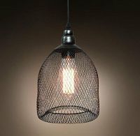 Vintage Industrial Pendant Light with Metal Mesh and Wire ...